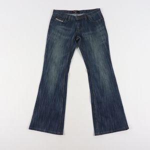 Diesel Women 33 Wide Leg Flared Denim Jeans Blue